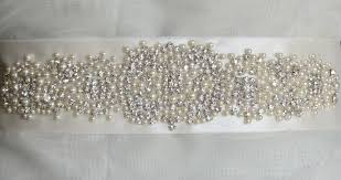 bridal sash pearl and rhinestone bridal sash by countrysweetboutique