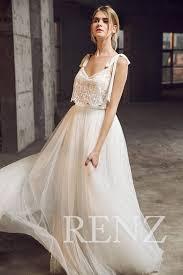 wedding dresses open back wedding dress white v neck bridal dressbeaded bowknot
