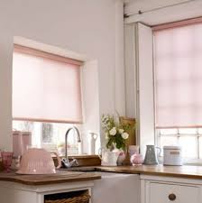 Kitchen Windows Design by Pink Window Blinds Used In Corner Kitchen Windows Against Kitchen