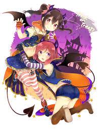 a maki and nico halloween love live awwnime