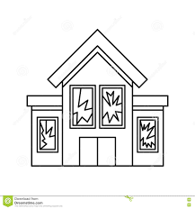 house with broken windows icon outline style stock vector image