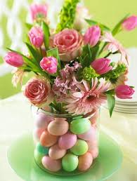 Candy Vases Centerpieces Flowers Centerpiece With Pink Flowers And Egg Candies In Vase Jpg