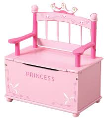 amazon co uk pink princess wooden bench and toy chest storage for