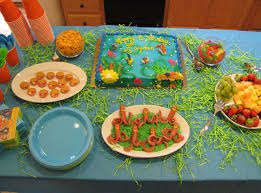 ocean themed party food finding nemo cake oyster cookies