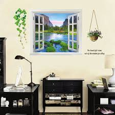 Large Wall Stickers Uk Large 3d Window View Mountain Sea View Uk Wall Sticker