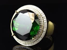 green gemstone rings images 925 yellow gold finish royal lab green gemstone center diamond jpg