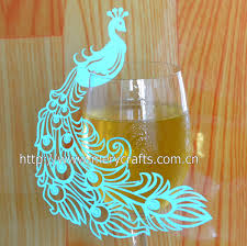 peacock favors peacock wedding cards laser cut party favors wine glass place