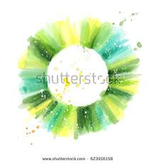 color wheel green colors watercolor painting stock illustration
