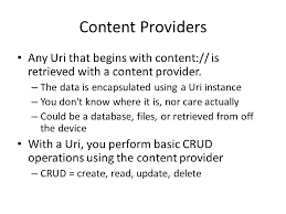 android uri cosc 5 4730 android content providers and intents ppt