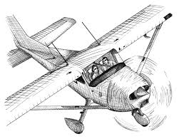 drawn airplane black and white pencil and in color drawn