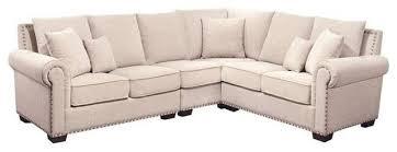 bowery hill bowery hill fabric nailhead sectional sofa