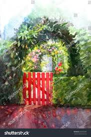 garden gate flowers landscape beautiful red gate overgrown plants stock illustration