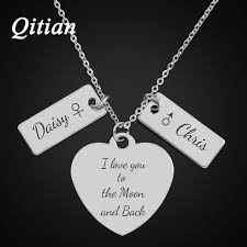 custom engraved heart necklace qitian personalized heart necklaces pendants for women