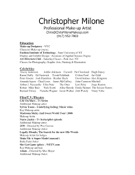 Movie Theater Resume Sample by Freelance Makeup Artist Resume Berathen Com