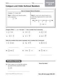 ordering rational numbers lesson plans u0026 worksheets