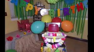 How To Make Birthday Decorations At Home Hawaiian Theme Birthday Party Simple Decorating Idea Part 3