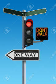 one way light traffic lights with dont walk and one way signs stock photo picture
