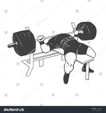 powerlifting bench press figure on isolated stock vector 284294264