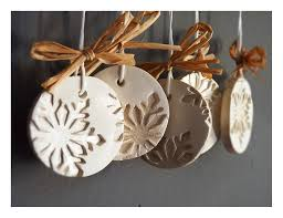 modern snowflake ornaments set of 5 white ceramic pearl painted