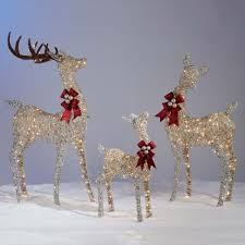 Lighted Santa Sleigh Reindeer Set by Reindeer And Sleigh Outdoor Decoration Costco Outdoor Designs