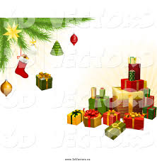 vector clipart of a 3d gifts under a christmas tree with festive