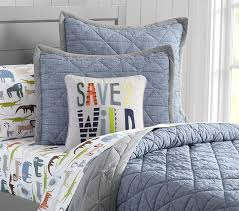 Chambray Duvet Theo Chambray Quilt Pottery Barn Kids