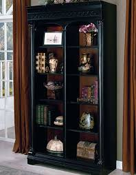 Small Bookcase With Doors Home Decorators Collection Oxford Black Glass Door Bookcase In
