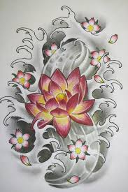 japanese lotus with cherry blossom tattoo design
