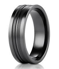 mens titanium rings black titanium ring satin finished center