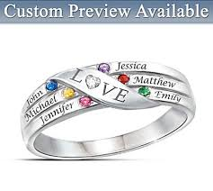 rings with birthstones and names family ring with birthstones and names