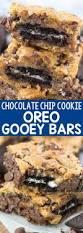 oreo stuffed chocolate chip cookie gooey bars crazy for crust