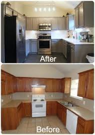 Painting Old Kitchen Cabinets Before And After Kitchens With Grey Painted Cabinets Painting Kitchen Cabinets