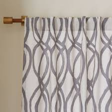 Beige And White Curtains Cotton Canvas Scribble Lattice Curtains Set Of 2 Feather Gray