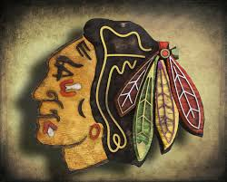 chicago blackhawks handmade distressed wood sign vintage art