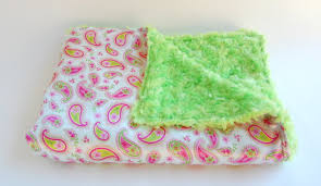 handmade baby items plush baby girl blankets pink paisley silky blanky