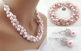 crystal pearl necklace images Chunky pink pearl bridal jewelry set crystal pearl necklace jpg