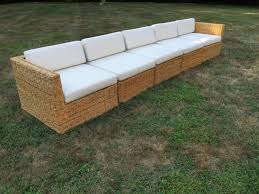 Rattan Curved Sofa by Michael Taylor Wicker Rattan Five Piece Sectional Sofa And Chairs