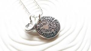 Stamped Initial Necklace Always Believe Something Wonderful Is About To Happen Birthstone