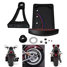 motorcycle license plate frame with led brake light black harley side mount vertical license plate bracket led tail