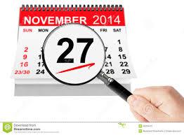 thanksgiving day concept 27 november 2014 calendar with magnifi