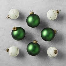 and solid green herringbone ornament set