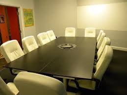 Modern Conference Table Design Rustic Brown Mahogany Conference Desk Combined Exposed Red Bricks