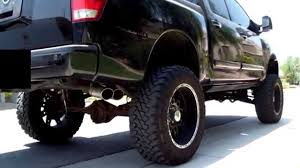 nissan titan body lift 2006 lifted nissan titan with billy boat catback exhaust youtube