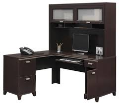 Compact Computer Desk With Hutch by Decorating Black Wooden Corner Desk With Hutch Matched With Chair