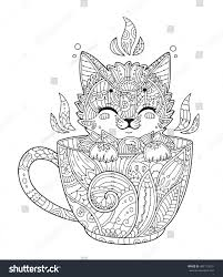 kitten cup antistress coloring page stock vector 469119251