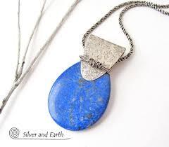 Handcrafted Sterling Silver Jewellery - lapis lazuli sterling silver necklace unique handmade jewelry