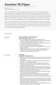 Systems Analyst Resume Sample by Technical Analyst Resume Samples Visualcv Resume Samples Database