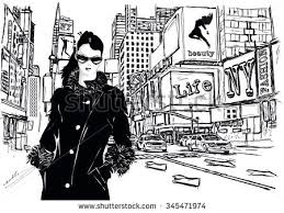 fashion sketchstyle new york city stock vector 345471974