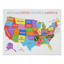 map of us states poster usa map posters prints ebay united states wall map usa poster