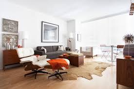 Modern Cowhide Rug Furniture Hardwood Floor With Cowhide Rug In Midcentury